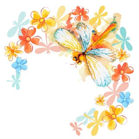 Vector wens achtergrond met mooie aquarel vliegende oranje libel en zachte bloemen Stock Illustratie