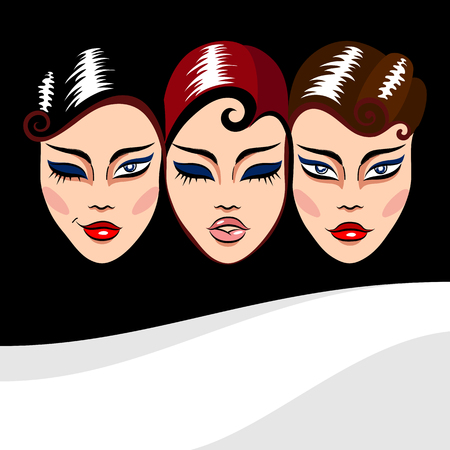 scenical: Vector background three woman faces masks with different facial expression