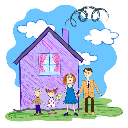 child's: Vector Crayon Kids Sketch With Happy Family, Mother, Father and Children with House Illustration