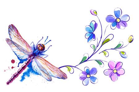 Horizontale achtergrond met dragonfly en bloemen op de witte Stock Illustratie
