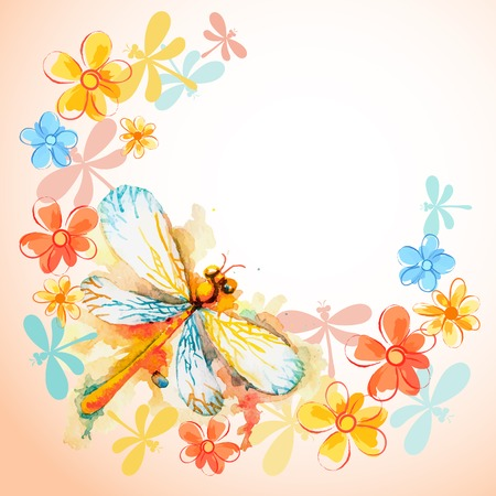 dragonfly wing: Vector greeting background with beautiful watercolor flying orange dragonfly and gentle flowers