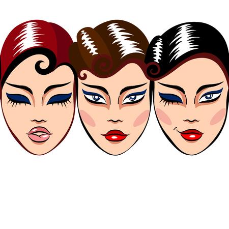 make up: Vecteur blanc, seamless, avec une rang�e de femme est confront�e � maquillage et coiffure