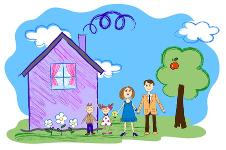 child's: Crayon Kids Sketch With Happy Family, Mother, Father and Children with House