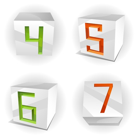 3D volume alphabet with shiny red, green and orange figures 4,5,6,7 in paper cubes Vector