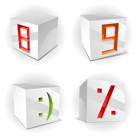 8 9: 3D volume alphabet with shiny red, green and orange figures 8,9, smile and percent in paper cubes