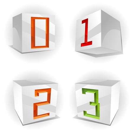 3D volume alphabet with shiny red, green and orange figures 0,1,2,3 in paper cubes Vector