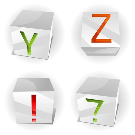 3D volume alphabet with shiny red, green and orange letters in paper cubes,letters A,B,C,D Vector