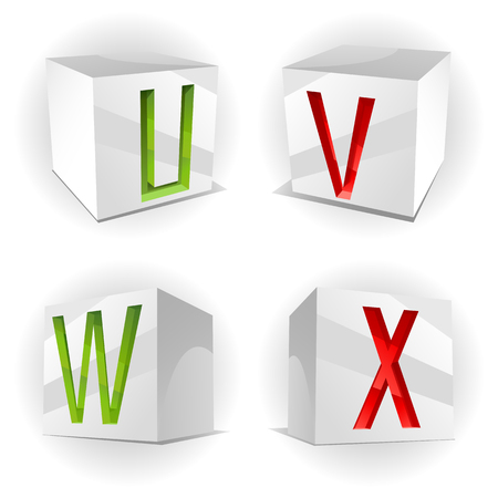 3D volume alphabet with shiny red, green and orange letters in paper cubes,letters U,V,W,X Vector