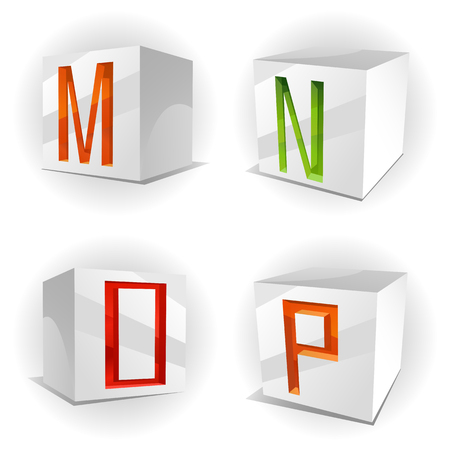 3D volume alphabet with shiny red, green and orange letters in paper cubes,letters M,N,O,P Vector