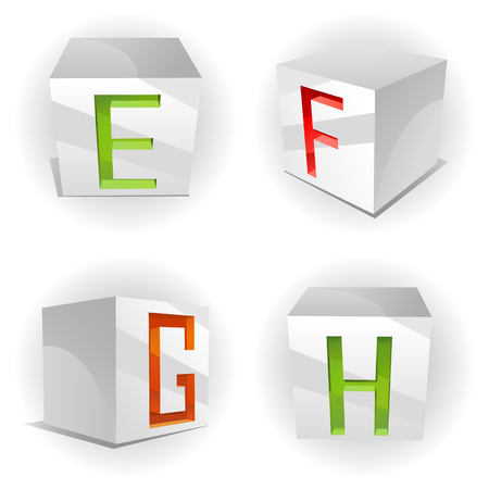 3D volume alphabet with shiny red, green and orange letters in paper cubes,letters E,F,G,H Vector