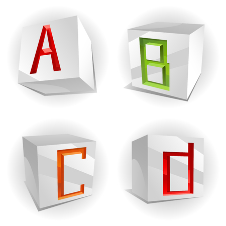 3D volume alphabet with shiny multicolored letters in paper cubes,letters A,B,C,D Vector