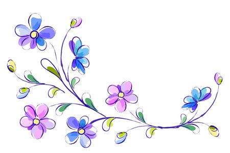 watercolour painting: White greeting horizontal background with pictorial blue and violet branch of flowers