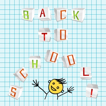 parer: inscription Back to school from 3D volume parer cubic letters on the school sheet of paper Illustration