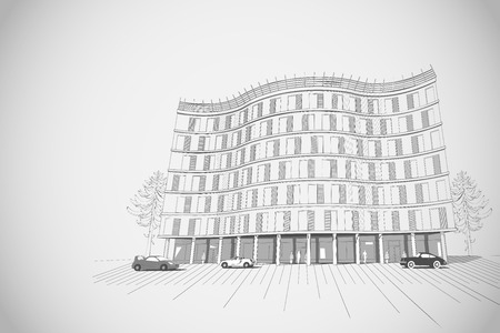 architectural grey monochrome background with modern apartment or office multistory building Vector