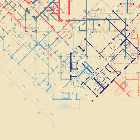 detailed view: architectural beige square background with blue,orange and violet plans of building