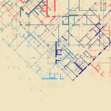 fond beige carré architectural avec des plans bleu, orange et violet de la construction