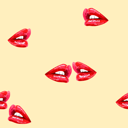 beige seamless abstract pattern with sensual shiny red lips Vector