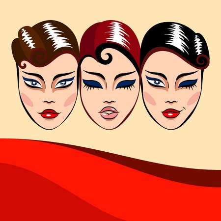 scenical: background with three woman faces masks with different facial expression and red wave Illustration