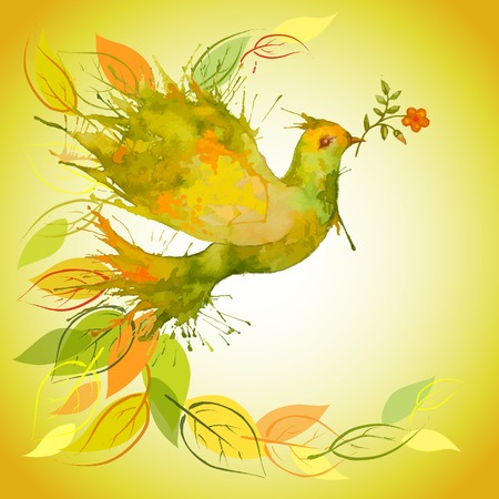 Watercolor Green Dove flying with flower branch and leaves - autumn background Vector