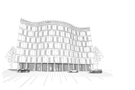 multistory: Vector architectural white monochrome background with isolated modern apartment or office multistory building