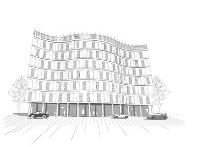 perspectiva lineal: Vector arquitectónico fondo monocromo blanco con aislados moderno apartamento u oficina edificio de varios pisos