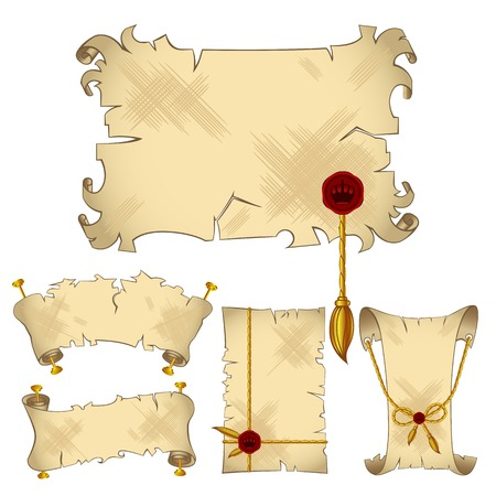 sacramental: Ancient old parchment scroll banners with gold royal details,isolated on the white background