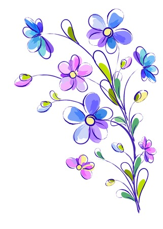 White greeting vertical background with pictorial blue and violet branch of flowers