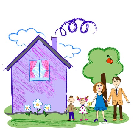 Crayon Kids Sketch With Happy Family, Mother, Father and Children with House and apple tree,isolated on the white background Illustration