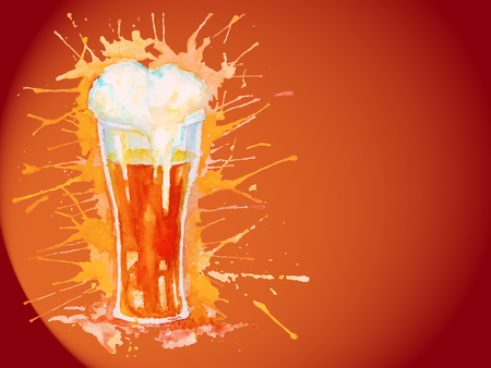 Watercolor glass of fresh beer with foam on the dark orange background with splashes Vector