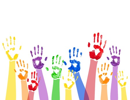 hand print: Vector abstract horizontal background with bright multicolored paint handprints,isolated on the white