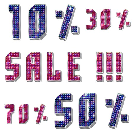strass: volume inscription Sale, figures and percents with shiny rhinestones and metal silver framing,in two versions of colours,isolated on the white background
