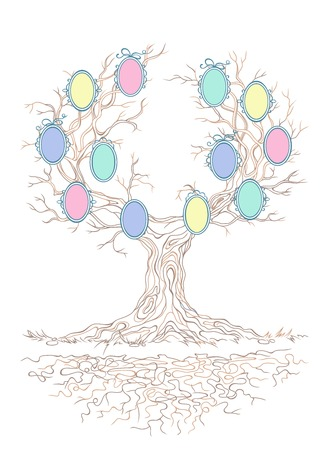 isolatd: linear graphic old big stale branchy tree with candy colors frames for family portraits,isolatd on the white background