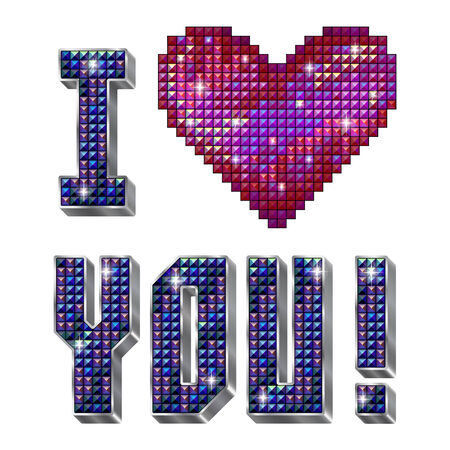 rhinestone: inscription I love you with shiny red rhinestone heart and volume letters,isolated on the white background
