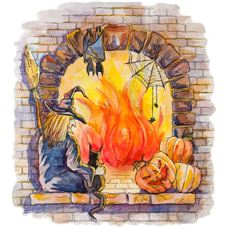 Vector hand drawn watercolor background with Witch and cat sitting at the flaring fireplace,having a rest after Halloween party Vector