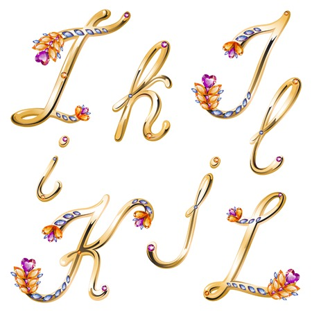 elebration: Vector volume shiny bronze alphabet with floral details from diamonds and gems, letters I,J,K,L Illustration