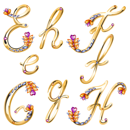 elebration: volume shiny bronze alphabet with floral details from diamonds and gems