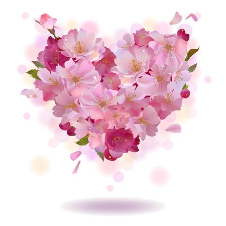 Vector spring achtergrond met zachte hart van kersen bloemen en bloemblaadjes, geïsoleerd op de witte achtergrond