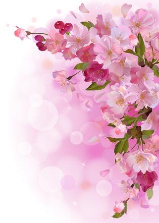 vertikal våren bakgrund med mild gren av vackra blommor