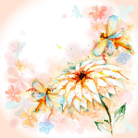 Vector spring greeting background with beautiful watercolor flying orange dragonflies and lily flower Vector