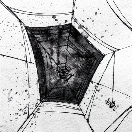 spider's web: Hand drawn charcoal grunge black spiders web,isolated on the white background Stock Photo