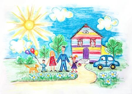 Dibujado a mano brillantes Childrens Bosquejo Con La Familia Feliz, Casa, perro, coche en el jardín con flores Foto de archivo