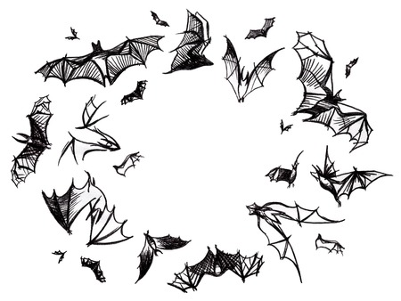 pictured: White background with bunch of flying hand pictured charcoal grunge black bats, isolated. Stock Photo