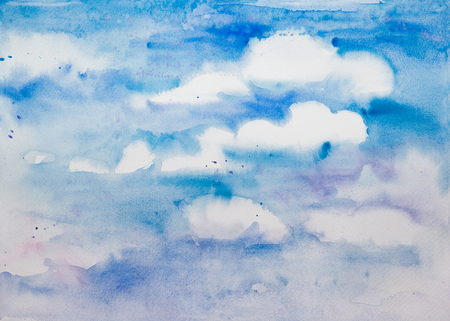sky cloud: Blue sky with white clouds - hand drawn watercolor background, place your text.