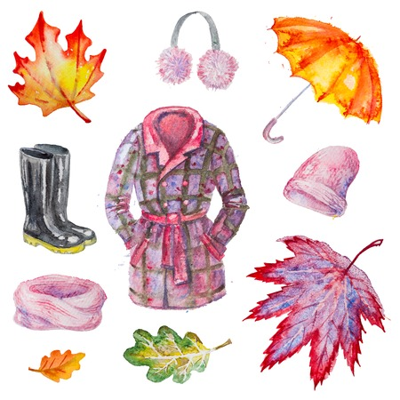 gumboots: Set of hand drawn watercolor autumn accessories: coat, umbrella, gumboots, scarf,  hat,headset and leaves,isolated on the white background