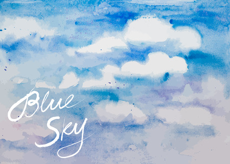 white clouds: Blue sky with white clouds - hand drawn watercolor vector background