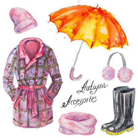 gumboots: Set of hand drawn vector watercolor autumn accessories: coat, umbrella, gumboots, scarf, hat and headset ,isolated on the white background