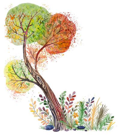オレンジ、緑、赤、黄色の葉、白い背景で隔離の大きな手描き水彩秋のツリー