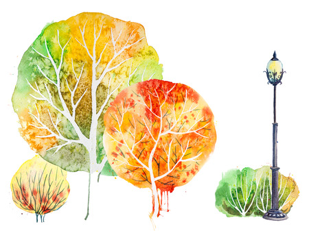 Hand drawn watercolor autumn with park, outdoor elements: orange,green trees, shrubs and lantern, isolated on the white Archivio Fotografico