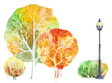 Hand getekende aquarel herfst met park, outdoor elementen: oranje, groene bomen, struiken en lantaarn, die op de witte
