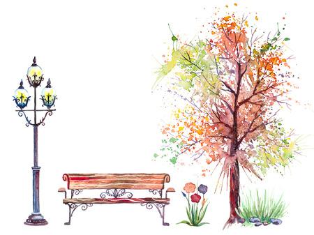 Ręcznie rysowane tła akwarela jesienią z drzewa, ławki i lampy, odizolowane na białym tle